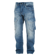 Pit Bull Denim Cargo Pants Oscar Medium Washed